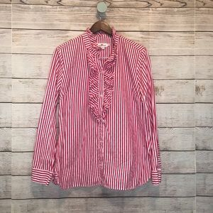 Vineyard Vines Pink and white stripe ruffle top